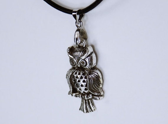 Owl black leather necklace Owl Silver Owl