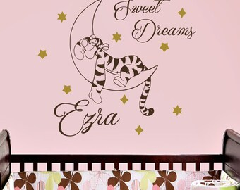 Wall Decal Quote Sweet Dreams Tigger Winnie the Pooh Vinyl Sticker Girl Boy Custom Personalized Name Monogram Baby Nursery Home Décor A346