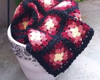 Granny Square Blanket. Baby Blanket. Lap Blanket. Baby Afghan. Colourful Blanket. Red and Yellow Blanket. Western Sunset Blanket.