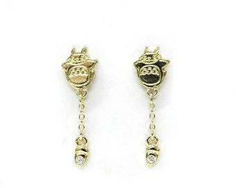 Earrings / My Neighbor Totoro Studio Ghibli / Pierce Totoro and acorns