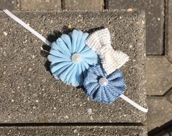 3 Flower Headband denim, blue and white bow