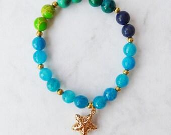 Blue Agate & Tropical Summer Stretch Bracelet