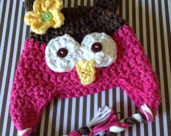 American girl doll hat, 18 inch doll owl hat, doll owl hat, doll hat, pink brown owl hat