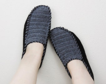 Mens Knitted Slippers in Black Gray, Mens House Shoes, Unisexs Knitted Slippers, Womens Slippers, Womens Shoes