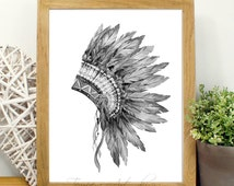 Black and White Print Feather Tribal Art Feather Print Black and White Feather Geometric Tribal Art Black and White Figural Feather Print
