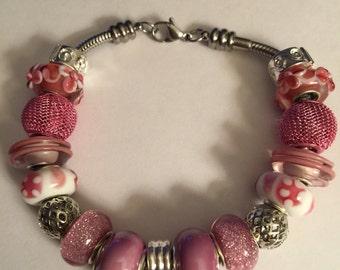 Pink European Style Beads