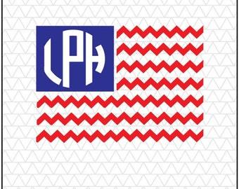 Chevron Flag SVG, Monogram svg, chevron svg, American Flag SVG, Patriotic, DXF, silhouette files, svg files, silhouette svg,
