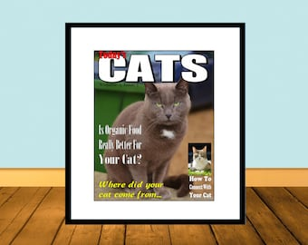 Cat Magazine Cover Mock-Up Animal Photo Instant Download Printable Art Print W040