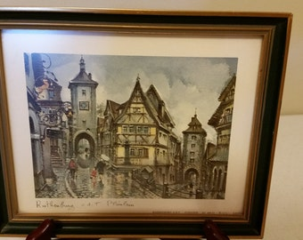 vintage rothenburg ob der tauber plonlein - germany - framed art litho print by maurice legendree - 1974 editions krisarts