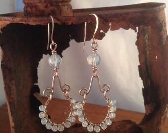 Hand wrapped Moonstone chandelier earrings