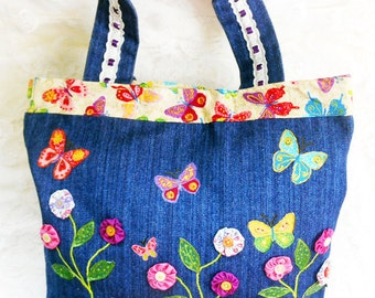 Boho Cute Vintage Denim Tote Bag, Handmade YoYo Bag, Butterfly Appliqued  Denim Tote, Lined Homemade Denim Handbag, Retro Denim Tote Bag