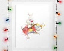 WHITE RABBIT PRINT, Alice In Wonderland, Alice Rabbit, Rabbir Clock, Disney Print, Watercolor, Alice Print, Nursery, Digital Print