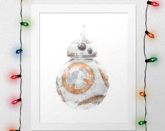 BB8, Force Awakens Print, Watercolor, The Force Awakens, BB8 Print, Star Wars Watercolor, Star Wars Print, Star Wars BB8 Print, Digital