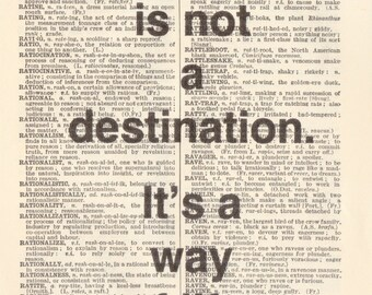 "Genuine Vintage 1948 Dictionary Page 5 x 7 Print ""Happiness is not a destination"" Quote"