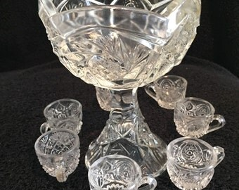 EAPG Child's Miniature Pressed Glass Punch Bowl w/ 7 Matching Cups