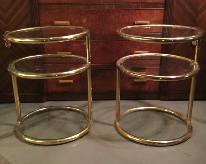 SOLD; Ca 1950s Pair of Brass Swivel End Tables in the manner of Milo Baughman