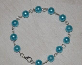 Aquamarine czech Glass pearl chain Bracelet