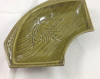 vintage green california pottery tray