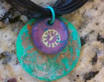 Enamel pendant necklace, old clock, time