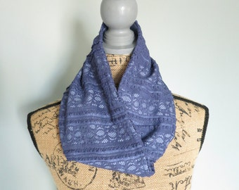 Elegant Blue Lace Infinity Scarf, Lace Scarf, Lace and Cotton Scarf, Blue Lace Scarf, Infinity Scarf,  Blue Scarf