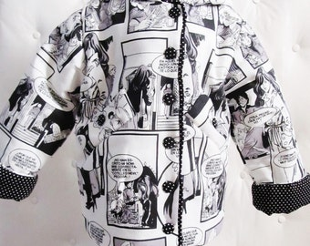A down jacket with hood - coat for baby with motive Comic strip black and white - limited edition baby of 12/18 month