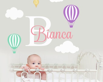 Hot Air Balloon Wall Decal-Wall Decals for Boys-Wall Decals Nursery-Boys Nursery Decals-Custom Name Decals-Name Wall Decals