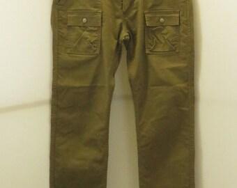 "2  ""LEVIS"" Limited Edition Safari Style Tan / Beige & Indigo Dyed Pants w/ Patch Pockets, Sz 34,32"