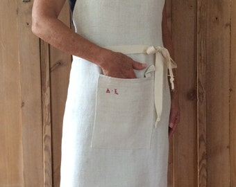 Linen Apron, Handmade Cream, Woman's