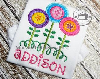 Girls Spring Shirt/ Girls Poppy Shirt/ Girls Easter Shirt/ Girls Flower Applique Shirt