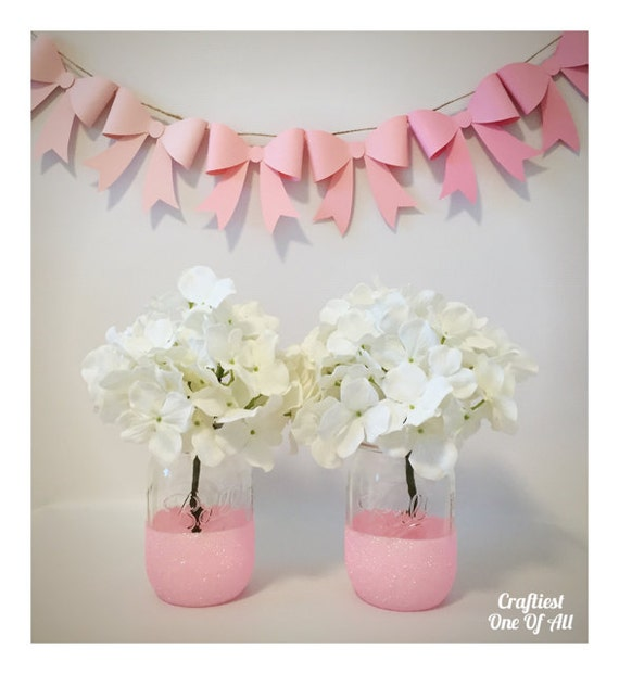 Set of two light pink glitter mason jars pink decor light