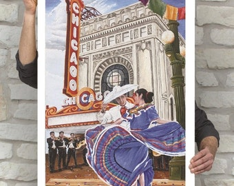 Latinos en Chicago Poster | Mexican Festivities