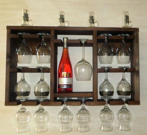 Rack botellero madera marr n repisa estante de cocina for Bar flotante de madera
