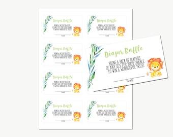 Baby Shower Diaper Raffle Tickets | Animal Jungle Safari | Watercolor Lion | Printable Instant Download