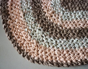 Crocheted Oval 22x34 Upcycled Rug