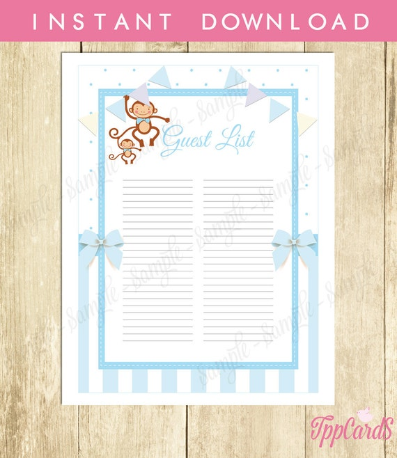 baby shower guest sign in sheet