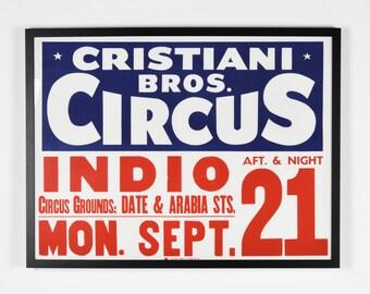 Vintage 1950's Original Circus Poster