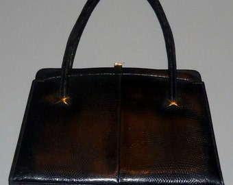 Vintage 1960's Black Lizard Skin Kelly Bag