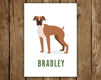 Boxer Art Print - CUSTOM - illustrated - Hanging Wall Art - Dog Gift