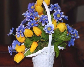 Yellow & Blue Silk Flowers In A White Princess Basket