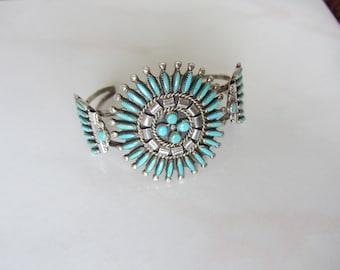 Zuni Turquoise Needlepoint Sterling Silver Cuff Bracelet Signed E&G and A+E Zuni