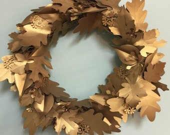 Gold Leaf Wreath Paper - Custom Made - Any Color- Any Size