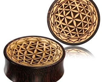 Flower of life ear plugs wooden tunnels stretcher gauge earrings sacred geometry big 25mm 1 28mm 1/16 32mm 1/4 30mm 1/18 36mm 7/16 40 PL14
