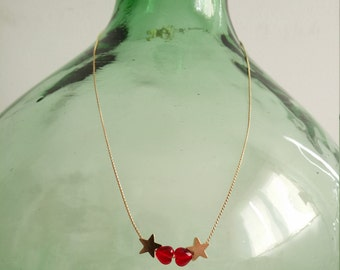 Starry hearts. Short necklace with gold stars and Red Czech crystal hearts.