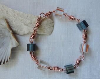 Copper Link and Bead Bracelet, Beaded Bracelet, Copper and Glass Cane Bead Bracelet, Orange and Blue Bracelet, Boho Bracelet
