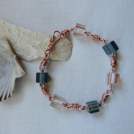 copper link and bead bracelet beaded bracelet copper and