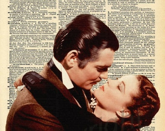 Gone with the Wind Scarlett and Rhett Dictionary Art Print