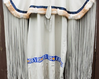 Creamy Beaded Buckskin Dress
