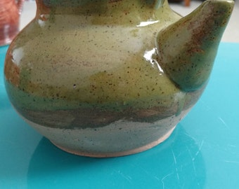 Olive and Tan Stout Teapot
