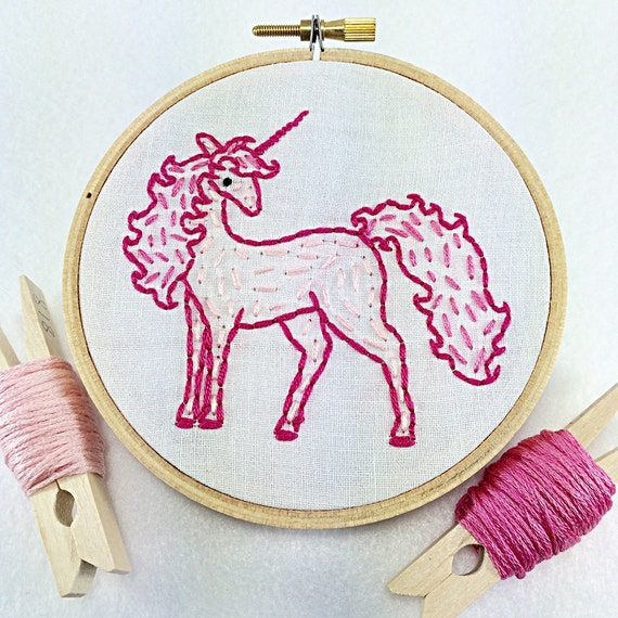 Made to order hand embroidered pink unicorn hoop art