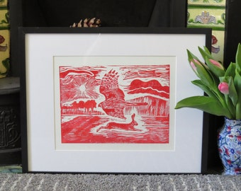 Hawk and hare linocut print / handmade / one-off print in red / FREE UK SHIPPING